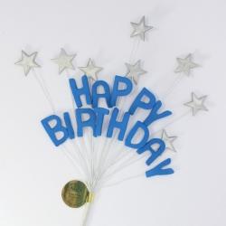 Royal Blue Happy Birthday & Silver Stars Cake Topper Spray