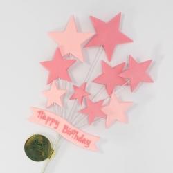 Pink Happy Birthday Banner & Stars Cake Topper Spray