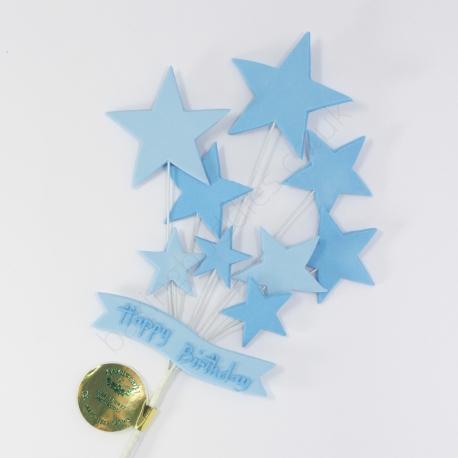 Blue Happy Birthday Banner & Stars Cake Topper Spray