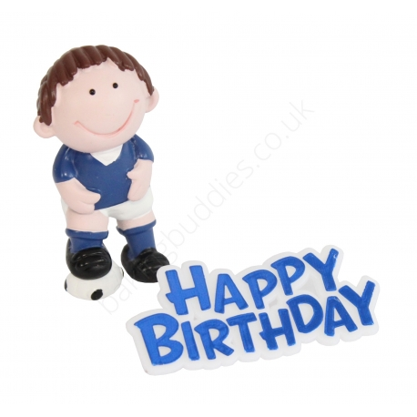 Blue Cutie Character Footballer and Motto