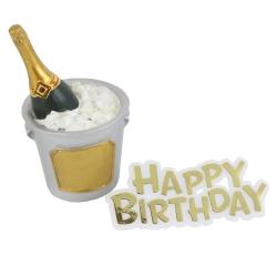Champagne Bucket Resin Topper & Happy Birthday Motto