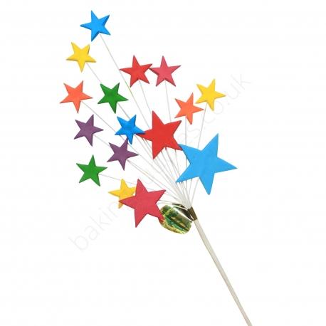 Bright Multi Coloured Star Spray Cake Topper
