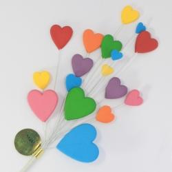 Bright Multi Coloured Heart Spray Cake Topper
