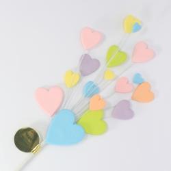 Pastel Multi Coloured Heart Spray Cake Topper