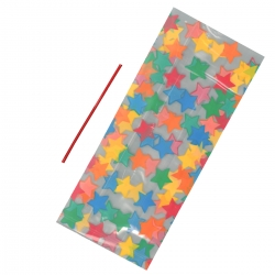 Multi Coloured Star Cello Bags With Ties 127mm x 285mm 20/pk