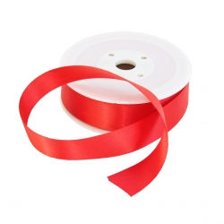 25mm Red Double Sided Satin Ribbon - 25m Roll