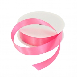25mm Pink Double Sided Satin Ribbon - 25m Roll