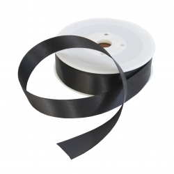 25mm Black Double Sided Satin Ribbon - 25m Roll
