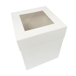 "10"" Extra Deep White Folding Cake Box With Window"