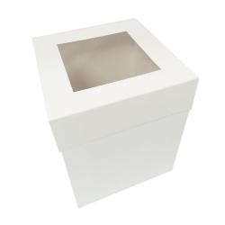"12"" Extra Deep White Folding Cake Box With Window"