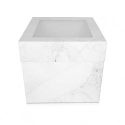 "12"" Extra Deep Marble Design Folding Cake Box With Window"