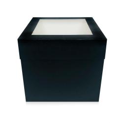 "10"" Extra Deep Black Folding Cake Box With Window"