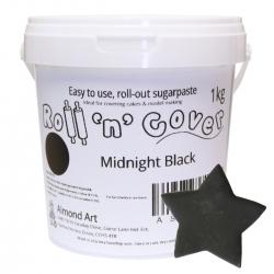 Midnight Black Roll 'n' Cover Sugarpaste - 1kg